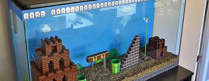 aquarium mario bros lego nintendo nes diy poissons