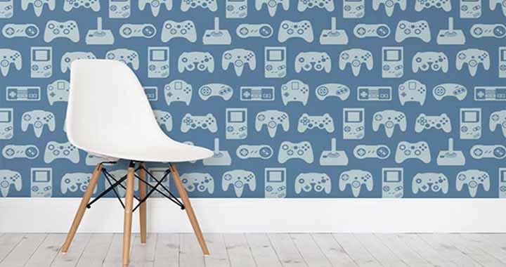 gayez votre salle de jeu avec un papier peint jeux vid o. Black Bedroom Furniture Sets. Home Design Ideas
