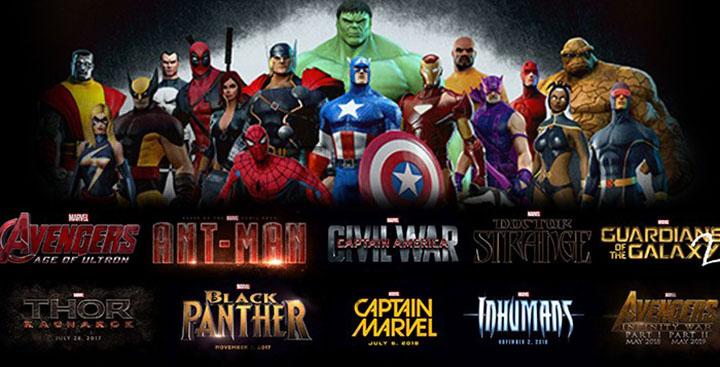 sorties de films marvel et dc deadpool guardians galaxy spiderman x-men avengers thanos